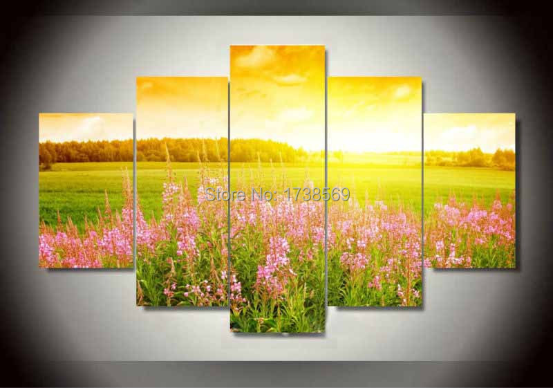 Printed 5pcs Home Decoration wall art picture for living room Sunshine flower field canvas Print group painting canvas art F0271