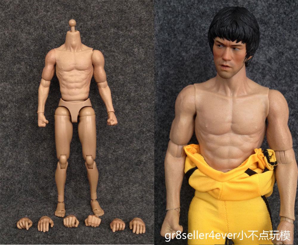 1/6 Scale Asian Male Muscular Figure Body fit Bruce Lee head sculpt ...