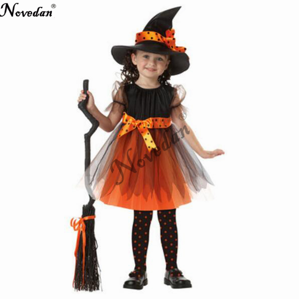 2018 New Halloween Party Children Kids Cosplay Witch Costume For Girls Halloween Costume Party Witch Dress With Hat