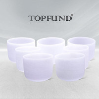 Chakra Tuned Set Of 7 Frosted Crystal Singing Bowls All 8 Inch