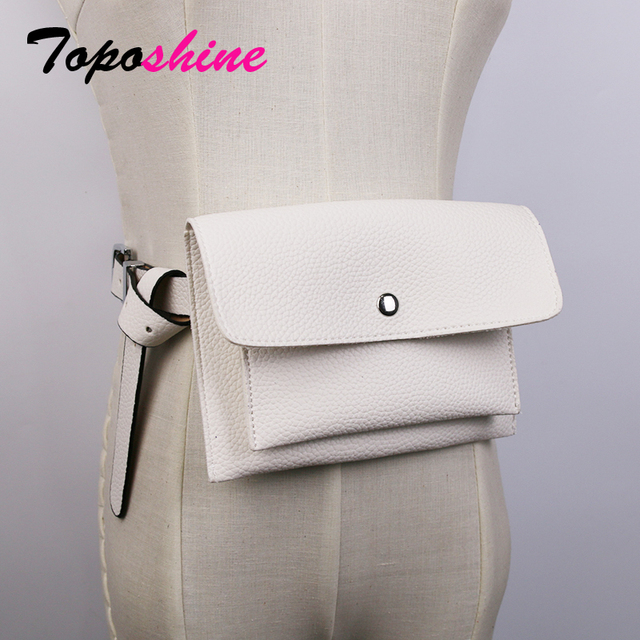 Toposhine Classic Trendy Waist Bags Fashion Women Belt Pack Vintage Mini Bags Pu Leather Simple Casual Belt Bags 5 colors gift