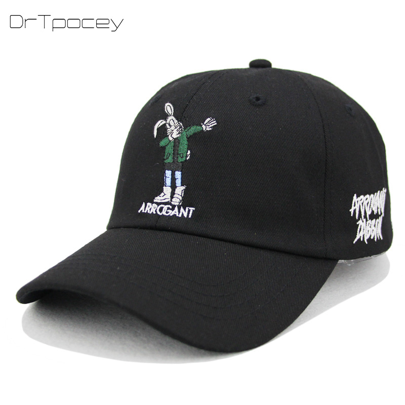 Bugs Bunny Dad Hats Streetwear Black Snapback Caps Men Trucker Hats Women Hip Hop Embroidery Baseball Cap Casual Summer Visor 2018 cc denim ponytail baseball cap snapback dad hat women summer mesh trucker hats messy bun sequin shine hip hop caps casual