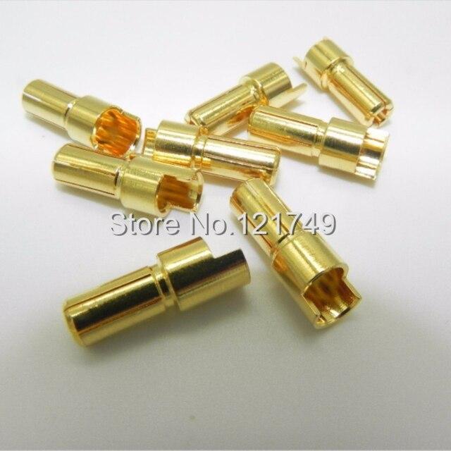 10 par/lote 5,5 MM chapado en oro bala tapones banana conector adaptador para la batería de RC motor ESC parte DU0088