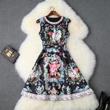 цена на Vintage Dress Summer Women 2019 Palace Style Printed Round Neck Beading Sleeveless Slim A-Line With Diamonds Dress Above Knees