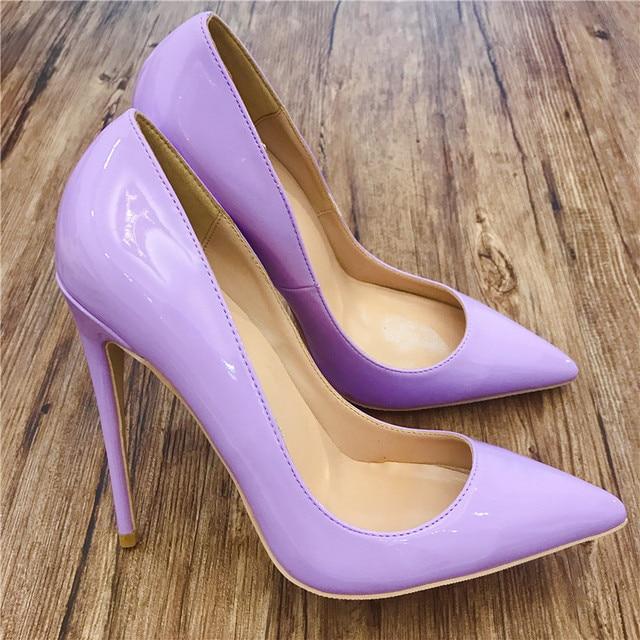 6a466cf4b55 Charol morado vestido zapatos mujer tacones altos bombas punta dedo del pie  sexy zapatos de vestir