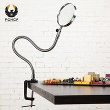 FGHGF 3.5X 90mm עדשת זכוכית מגדלת רקמת מגדלת משקפיים שולחן שולחן מהדק תיקיות מתכת Repaire מגדלת זכוכית