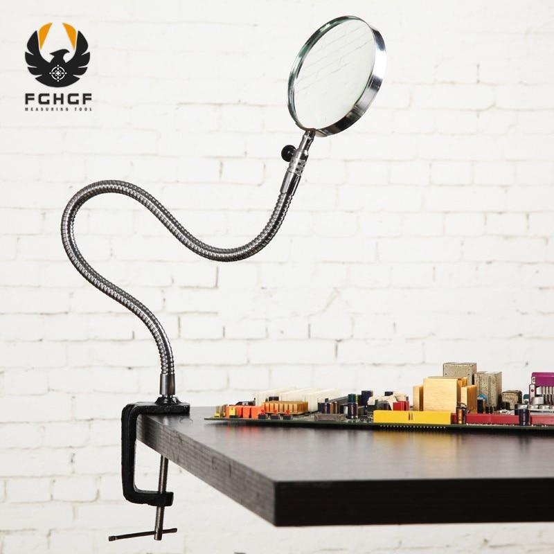 FGHGF 3.5X90mm lentille Loupe Loupe pour broderie Loupe bureau Table pince dossiers métal Repaire Loupe