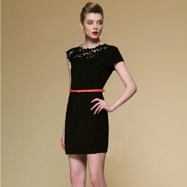 Summer Women Sexy Bodycon Club Mini Dress Black Lace Embroidery
