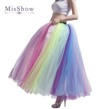 MisShow Colorful Beach Maxi Skirt 2019 Sexy Ladies Tulle Skirt Long Floor Length