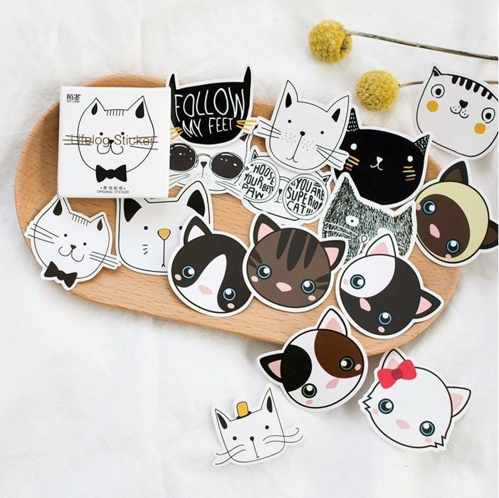 45 PCS Creative Cute Touch Your Head Animal Head Paper Sticker Decoration DIY Ablum Diary Scrapbooking Label Sticker Stationery