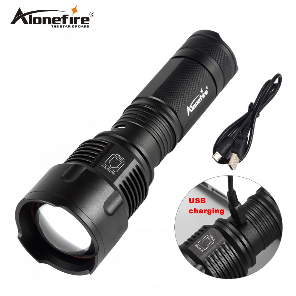 AloneFire USB 26650 Flashlight X981 Torch XML T6 LED Zoomable zoom Camping Hunting Flash Light Lantern