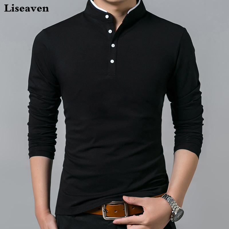 Liseaven T-Shirt Men Tees Tops Mandarin-Collar Full-Sleeve Long Solid-Color Cotton