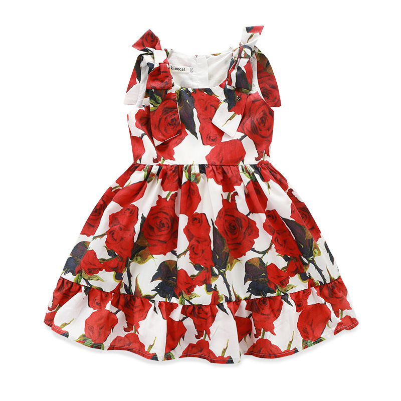 ФОТО Kids clothes Girls dress Summer 2016 Baby girls princess dress sleeveless bowknot  rose flowers Girls clothes Robe Fille Enfant
