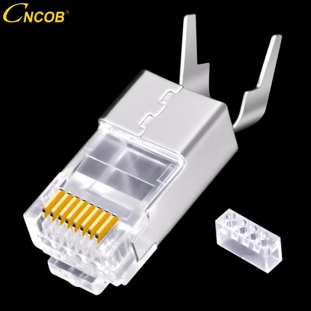 CNCOB Cat8 Ethernet rj45 conector equipo 10g Banda ancha Cable 8P8C oro cobre chapado Chip FTP cobre niquelado shel