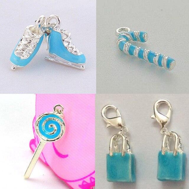 DOYUBO Lovely Design Zinc Blue Enamel DIY Charm Matching Links Bracelets Skating Shoes/Umbrella/Lollipop/Gift Bag Charms C026
