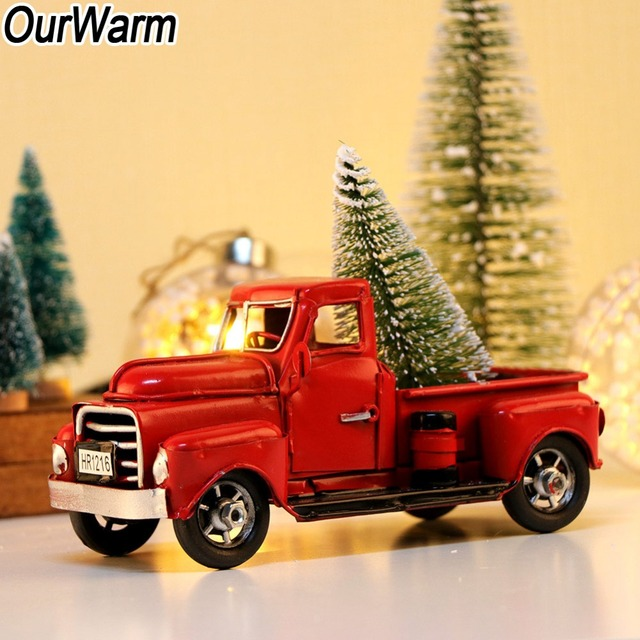 Ourwarm Cute Little Metal Christmas Red Truck Vintage Red Truck