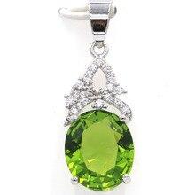 Fantastic Oval Gemstone Green Peridot White CZ Gift For Girls Silver Pendant 34x12mm