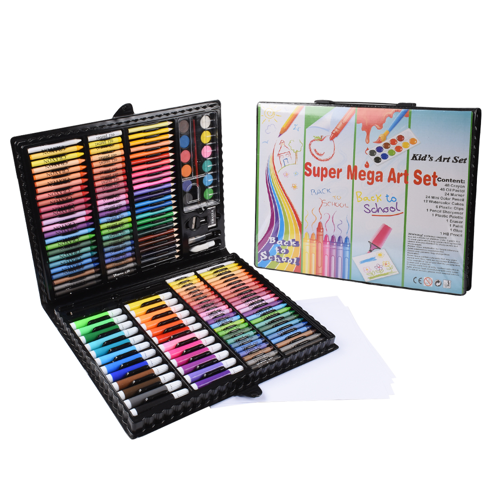 168PCS/Set Art Set Oil Pastel Crayon Colored Pencils Marker Pens Watercolor Paint Painting Drawing Kit Christmas Gift For Kids