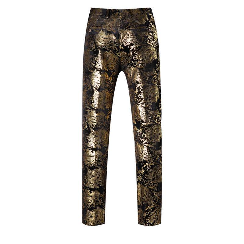 (ジャケット + パンツ) 男性のゴールドプリントペイズリー花黒ゴールドタキシードステージ衣装スリムフィットブレザー男性の結婚式のスーツ