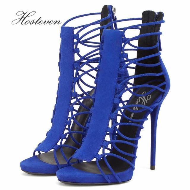 Hosteven Sexy Women' Shoes Open Toe Zip Heels Sandals Woman sandals Thin Heels Woman Shoes Ladies High heels Pumps Size 34-46