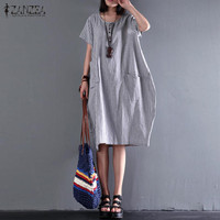 ZANZEA Women Retro Striped Buttons Pockets Summer O Neck Short Sleeve Cotton Linen Loose Midi Dress
