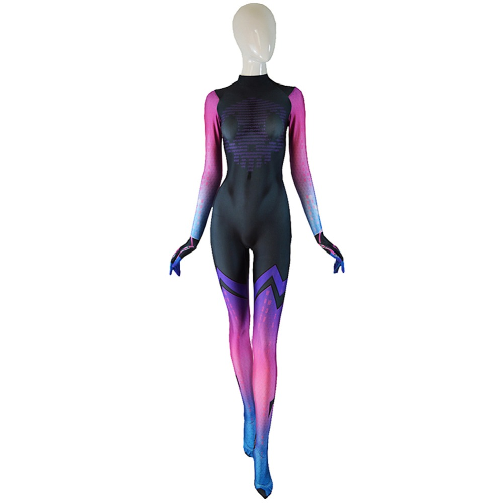 Phantom Shadow Costume 3D Print Halloween Sombra Cosplay Costume Girl Sombra Bodysuit Free Shipping