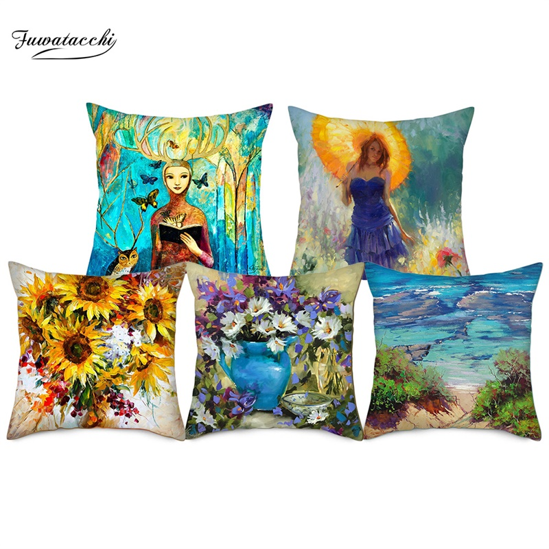 Fuwatacchi Landscape Painting Cushion Cover Sunflower Sailing Pillow For Home Car Chair Decor Pillowcases