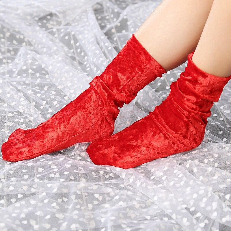 1Pair Fashion Women Girls Casual Velvet Socks Soft Vintage Retro Luxury Shiny Hosiery Winter Warm Short Socks Hipster 9colors