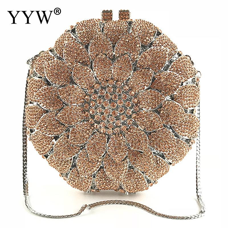 2018 Rose Flower Shaped Crystal Clutch Bag For Women Diamond Chain Shoulder Bag Handmade Evening Party Bags Purse Clutches fashion rose flower shaped diamond pendant chain necklace