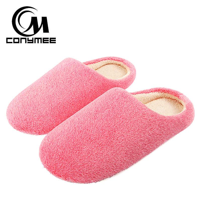 5f1ff430d Conymee 2018 женские туфли на плоской подошве домашние тапочки Terlik  мягкий бархат зимняя женская обувь zapatos