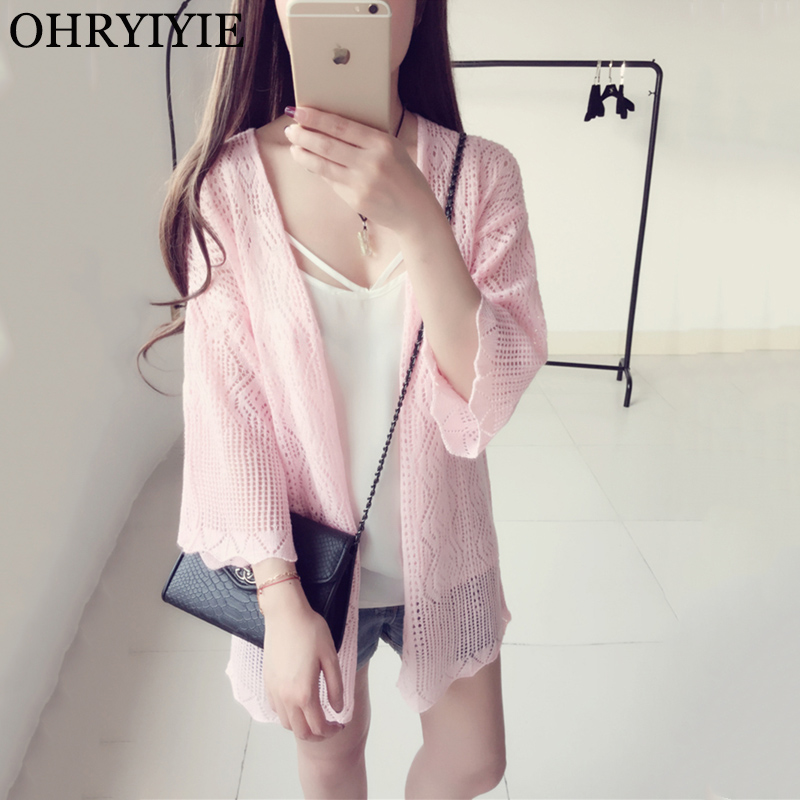 OHRYIYIE Spring Summer Long Knitted Cardigan Women 2018 New Fashion V-neck Sweater Poncho Female Loose Hollow Sweater Pull Femme