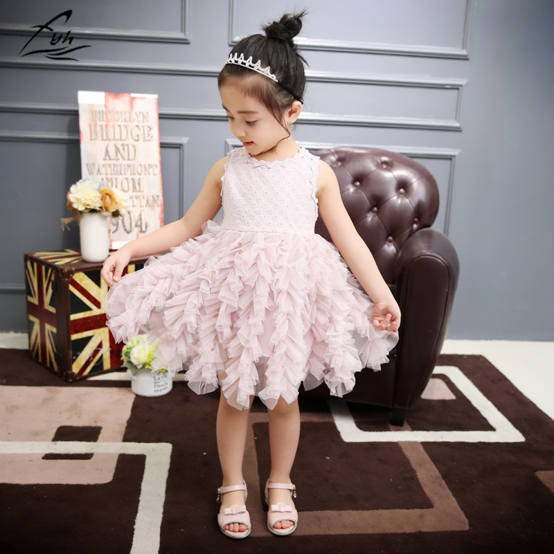 FYH Kids Clothing Girls Dress Girls Princess Dress Kids Elegant Lace Fashion Ball Gown Toddle Girls Sleeveless Summer Dress Cute