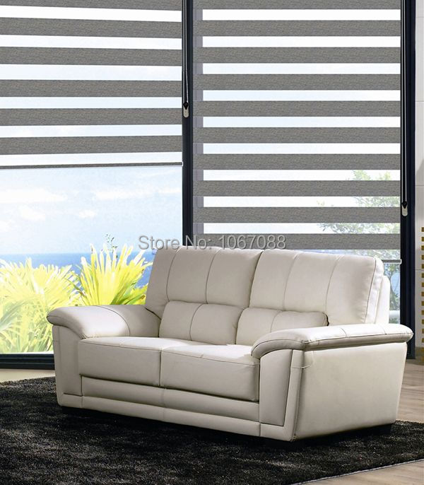 Aliexpress Buy Custom Made 100 Polyester Translucent Roller Zebra Blinds In Grey Window Curtains For Living Room 31in48in 7 Colors From Reliable