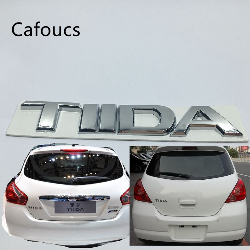 Cafoucs For Nissan TIIDA Trunk Rear Tailgate Emblems Badge Logo Stickers