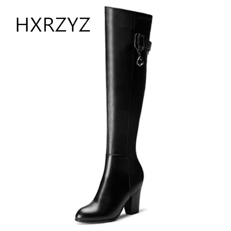 HXRZYZ knee-high boots women autumn genuine leather new style high-heeled add velvet women shoes black keep warm winter boots