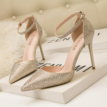 New Elegant Ladies Shinning Glitter Gold Silver Pumps 2019 Sexy Pointed Toe High Heels Ankle Strap Wedding Party Shoes Woman new hot selling glitter embellished high heel shoes 2018 sexy pointed toe ankle strap woman pumps crystal wedding heels