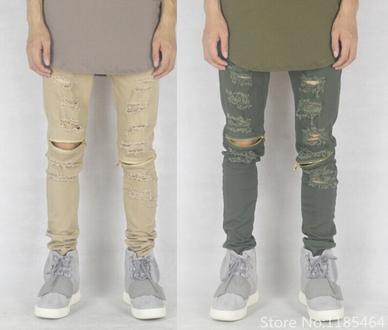 24beb73294 sand olive green skinny jeans for men Distressed biker jeans white black  fashion designer slim brand kanye west tyga destroyed