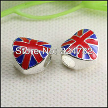 50PCS Silver Plated Enamel UNION JACK / Britain Flag Big Hole Charm Dangle heart Beads fit European Bracelet jewelry findings(China)