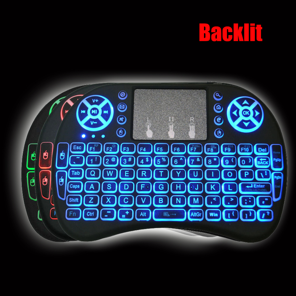 Yakee i8 backlit keyboard English Russian Spanish 2 4GHz Wireless Keyboard Air Mouse Touchpad for Android