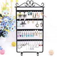 New Arrival Mental Earrings Bracelet Showcase 48 Hole Display Jewelry Hanging Rack Shelves Metal Stand Organizer