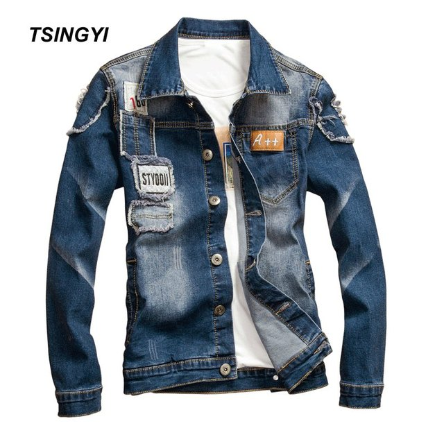 Tsingyi Elastic Patch Designs Distressed Denim Jacket Men Casual