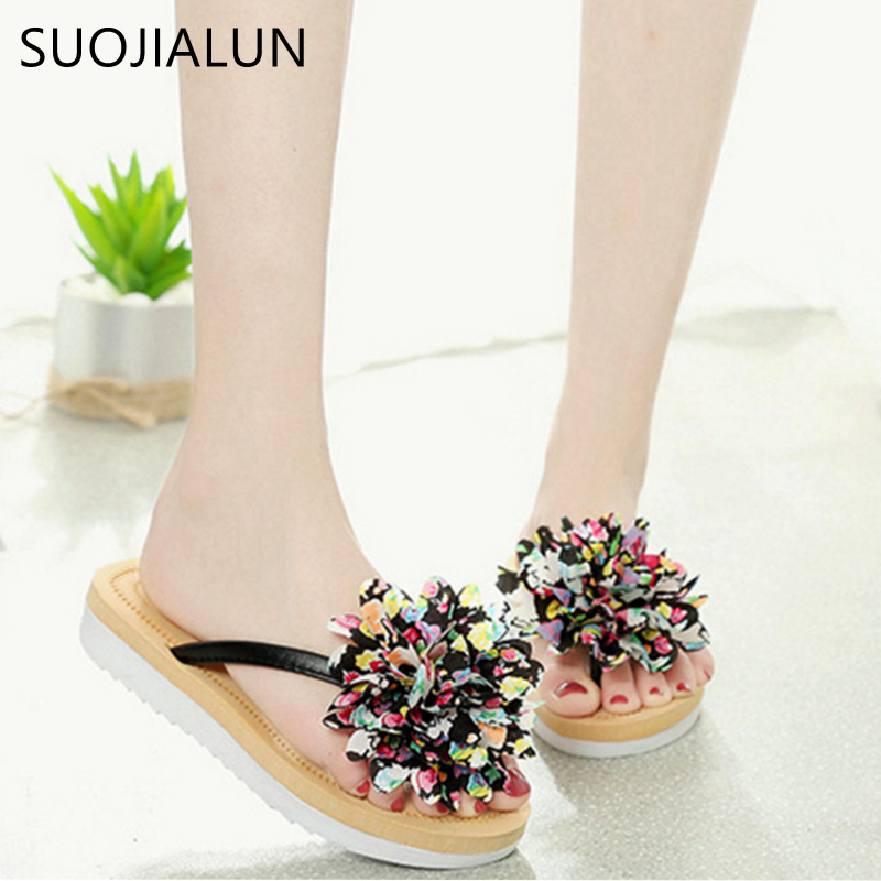 SUOJIALUN 2018 Fashion Floral Flip Flops Casual Summer Gladiator Slides Beach Flip Flops Flat Shoes For Ladies Woman Slippers