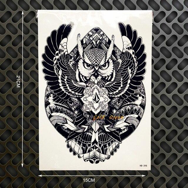 Hot Wise Owl Tattoo Body Art Sleeve Arm Flash Tattoo Sticker GHB398 Big Size 21x15cm Waterproof Henna Tatoo Wall Car Styling