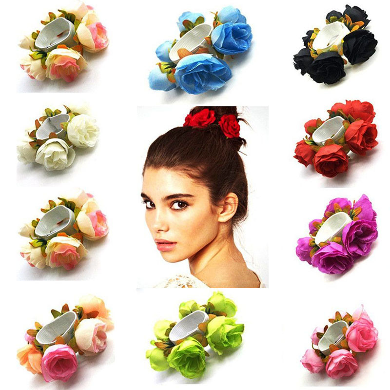 Elastic Rope  Gift Accessories Hair Bands Rose Flower Scrunchie Ponytail Holder