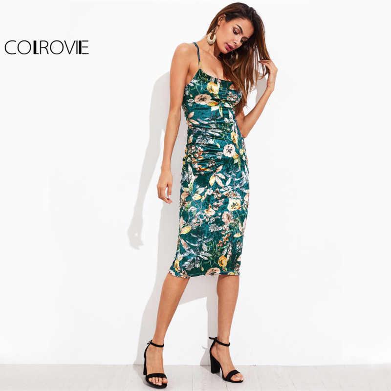 COLROVIE кружевное платье с цветочным рисунком, бархатное платье, Botanical, женское сексуальное платье миди, летние платья зеленого цвета, элегантные вечерние платья