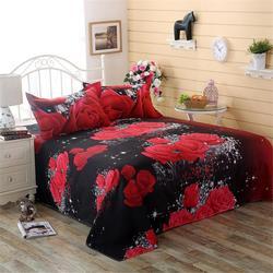 3 sztuk/zestaw romantyczny 3D Rose wzór prześcieradło z nadrukiem poszewka na poduszkę zestaw