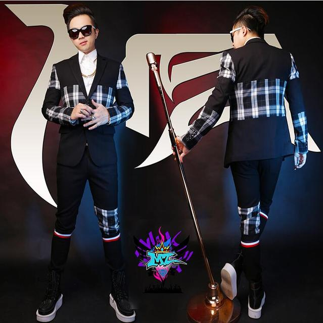 New Nightclubs Male Singer jackets Men Wool Fashion Black And White Plaid Stitching Blazers Lapel Two Buttons Suits Costumes