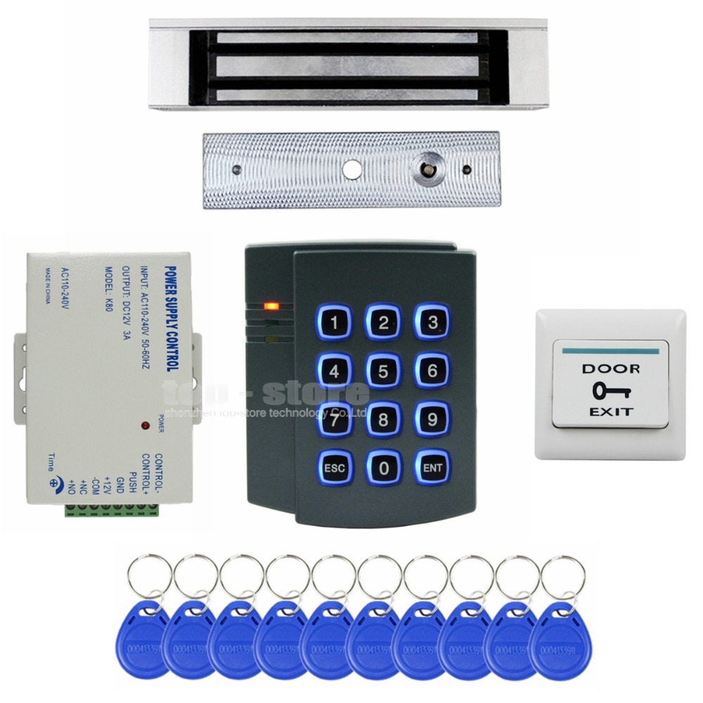 DIYSECUR 180KG Magnetic Lock 125KHz RFID ID Card Reader Password Keypad Access Control System Security Kit 2501 diysecur 280kg magnetic lock 125khz rfid password keypad access control system security kit exit button k2