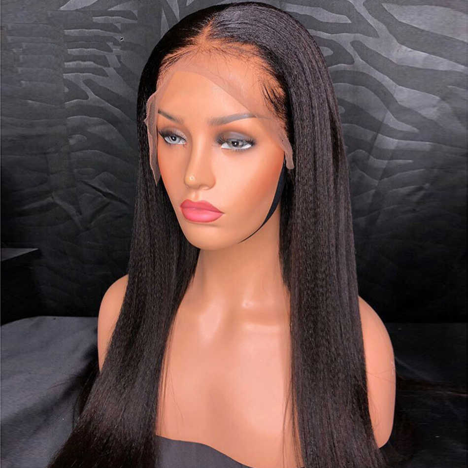 Maxine кудрявый прямой парик Yaki прямые человеческие волосы на фронте шнурка парики для черных женщин предварительно сорвал Бесклеевой бразильский парик