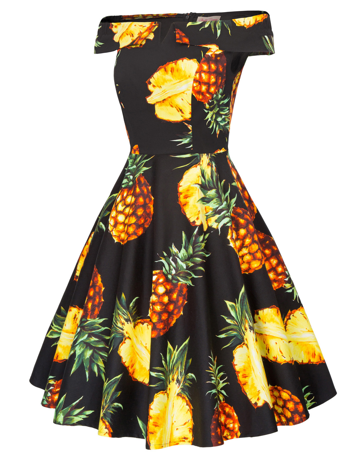 Womens Off Shoulder Pineapple Printed Sexy Pleated Dress Evening Bodycon Slash neck A-Line Zipper Knee-Length Dress